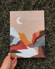 Small Canvas Paintings, Easy Canvas Art, Small Canvas Art, Cute Paintings, Mini Canvas Art, Easy Art, Diy Canvas, Drawing On Canvas, Beginner Canvas Painting Ideas
