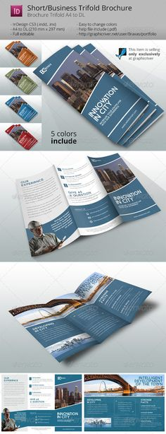 Business Brochure Trifold Innovation in City by Braxas Business Brochure Trifold Innovation in City indesign template help you easy create own brochure. Just add your text, logo and pho