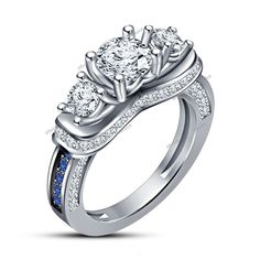 2.70 CT Diamom & Sapphire White Gold Finish 925 Silver Three Stone Wedding Ring #affoin8