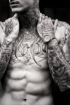 """""""Hope"""" chest tattoo, tattooed man"""