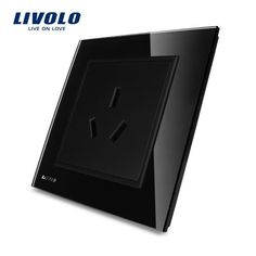 LIVOLO UK standard Single wall Power/electrical Socket, Luxury Black crystal glass panel, VL-W2C1B-11 .