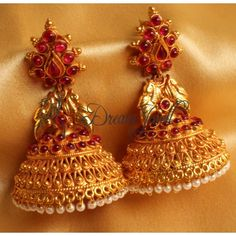Shop Gorgeous Real Kemp Huge Peacock Antique Earrings/jhumkka by Dreamjwell online. Largest collection of Latest Earrings online. Gold Jhumka Earrings, Jewelry Design Earrings, Gold Earrings Designs, Antique Earrings, Antique Jewelry, Jhumka Designs, Vintage Jewelry, Opal Earrings, Jewelry Armoire