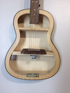 Guitar Shelf # Recycled student sized guitar with clear plexiglas door and 2 shelves. by aRRtstudios on Etsy Music Bedroom, Diy Bedroom, Guitar Shelf, Diy Projects For Bedroom, Coffe Table, Wood Interiors, Apartment Design, Porch Decorating, Wood Pallets