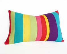 Playful Color Banded Pillows for Nursery Decor by PillowThrowDecor,