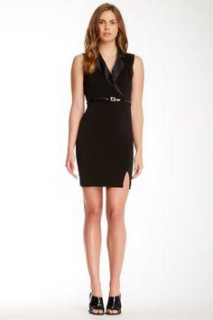 BLVD Cap Sleeve Notch Collar Dress by BLVD