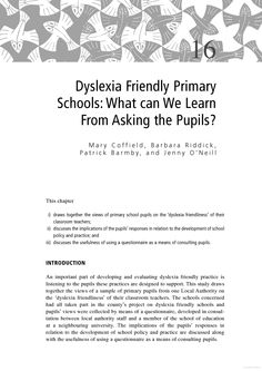 Interesting study from The SAGE Handbook of Dyslexia that explores students' views on the 'dyslexia friendlines' of their teachers.