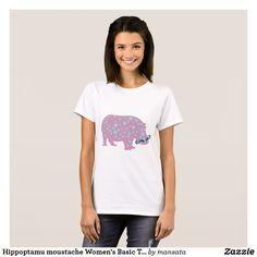 Hippoptamu moustache Women's Basic T-Shirt, Whitep T-Shirt