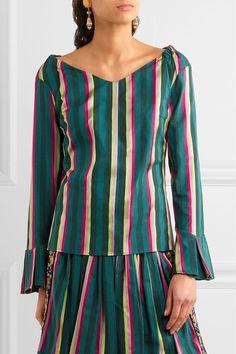 Etro - Striped Cotton-blend Poplin Top - Green - IT44