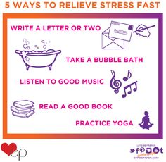It's time to take a minute or two to yourself to relieve some of that stress! Check out our list of 5 activities that we believe help calm us down and relax. Simply sitting down and writing a quick note, taking a bath, reading a chapter in your favorite book, listening to some music, or practicing yoga can take loads off your chest – try it! What do you do to relieve stress?