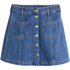 H&M Denim skirt ($19) ❤ liked on Polyvore featuring skirts, mini skirts, bottoms, blue, denim, denim blue, denim miniskirt, pocket skirt, short mini skirts and denim button skirt