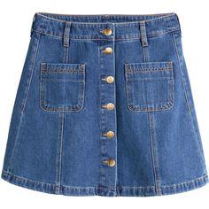 H&M Denim skirt (71 ILS) ❤ liked on Polyvore featuring skirts, mini skirts, bottoms, blue, denim, denim blue, denim miniskirt, blue denim skirt, denim mini skirt i h&m