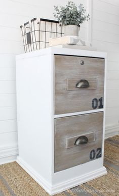 Dated File Cabinet Gets An Industrial Makeover – Home Office Design On A Budget Wooden File Cabinet, Painted File Cabinets, File Cabinet Desk, Diy Cabinets, Decorating File Cabinets, Home Office Filing Cabinet, Office File Cabinets, Filing Cabinet Organization, Home Office Design