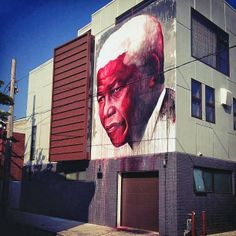 """Mandela"" Street art in Philadelphia, USA, by Ben Slow."