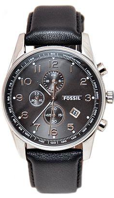 #Fossil #Watch FS4761 Men's Black Leather Watch