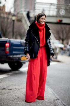 J U L I E L I N G M A   Street style, Thick Oversized Red Sweater, Red Wide Leg Dress Pants, Black Coat