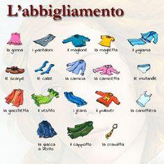 """63 curtidas, 2 comentários - Impariamo l'italiano (@impariamoitaliano) no Instagram: """"I capi di abbigliamento #vocabolario #learningitalian #learnitalian #studyitalian #speakitalian…"""""""