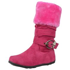 Girls Faux Fur Cuff Collar Strappy Rhinstones Mid Calf Boots Fuchsia - Girl Boots - Ideas of Girl Boots - Girls Faux Fur Cuff Collar Strappy Rhinstones Mid Calf Boots Fuchsia Price : Girls Shoes, Girls Footwear, Comfortable Boots, Mid Calf Boots, Calves, Zip Ups, Ankle, Girl Boots, Casual