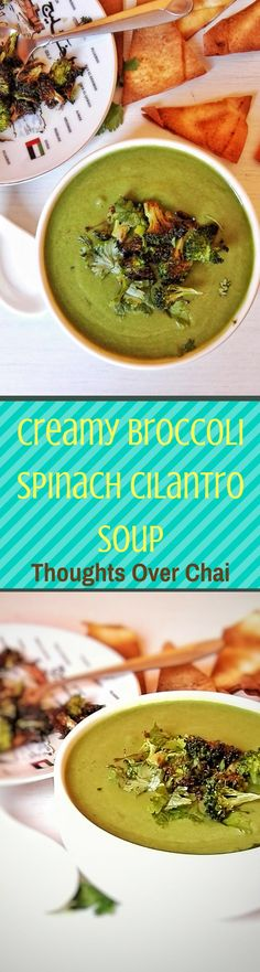 A heart-warming soup with robust flavors from roasted broccoli, spinach and cilantro; served with pita chips. Perfect on its own as a complete meal.