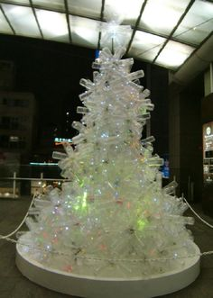 plastic bottle christmas tree, looks like a less regular arrangment of bottles
