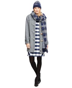 """<a href=""""#pdplearnmore"""" class=""""lm"""">The Red Fleece Collection</a><br>Wool blend hooded toggle coat with four wooden toggles and rope loop.  Center front zipper closure. Two patch pockets. One button at each sleeve. 32"""". Dry clean. Imported."""