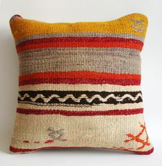 BIG SALE / Hand Woven Turkish Kilim Pillow Cover 16x16 by sukan