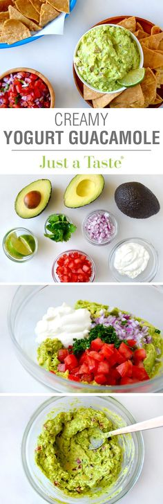 Creamy Greek Yogurt Guacamole #recipe from @Just a Taste | Kelly Senyei