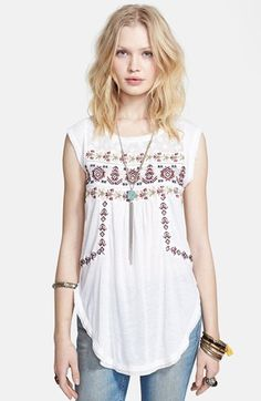 Free People 'Reckless Abandon' Embroidered Tunic Top available at #Nordstrom