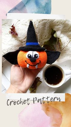 This listing is an original pattern written in English. The toy measures approximately 14 cm /5,50 inches. The pattern includes instructions on how to make a pumpkin. Crochet Cat Pattern, Dog Pattern, Crochet Bear, Crochet Toys Patterns, Crochet For Kids, Amigurumi Patterns, Crochet Dolls, Handmade Ideas, Etsy Handmade
