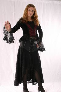 Gothic Lace & Net Top. Medieval Gothic Velvet & Lace Long Sleeved Top & Skirt~By Fashion X~75-1292