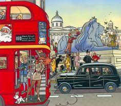 Franka in London Bus Art, Graphic Novel Art, Ligne Claire, Bd Comics, Comic Drawing, Comic Artist, Cartoon Styles, Atlantis, Comic Strips