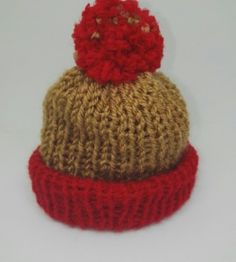 8b2ea88fdb4 GOLD AND RED premature baby Bobble Hat Soft and Warm Premature Baby Hats  Custom Made to
