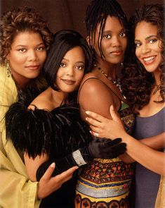 The women of Living Single!    Khadijah (Queen Latifah)  Regine (Kim Fields)  Maxine (Erika Alexander)  Synclaire (Kim Coles)    They looked like women I knew, they all had jobs, they had style & flavor, they were fun!  Each one of them reflected a part of my inner woman.  Strong, focused advisor; all out domestic diva; stubborn, educated, fun professional; compassionate, quirky, loveable friend...they were all me.  Loved this show & these characters.