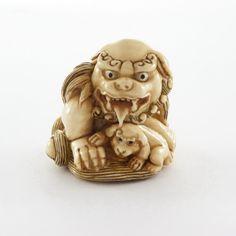 Mammoth Ivory Netsuke - Chinese Lion Grooming Baby Lion