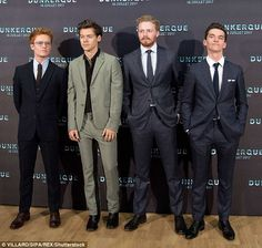 In good company! Harry was in high spirits as he was joined by his fellow cast mates Tom Glynn-Carney, Fionn Whitehead and Jack Lowden (L-R)