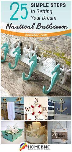 25 easy DIY ideas to create a relaxing nautical-themed bathroom. #bathroom #nauticaltheme #homedecor