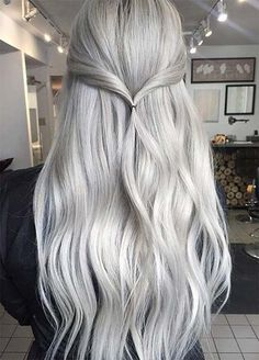 Granny Silver/ Grey Hair Color Ideas: Vanilla Grey Long Hair