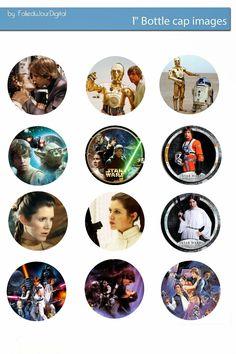 I'm sharing free digital bottle cap images I created Schultüte Star Wars, Theme Star Wars, Star Wars Party, Bottle Cap Magnets, Bottle Cap Art, Glass Magnets, Star Wars Crafts, Geek Crafts, 2nd Grade Crafts