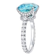 Bright Aquamarine And Diamond Ring In Platinum | From a unique collection of vintage cocktail rings at http://www.1stdibs.com/jewelry/rings/cocktail-rings/