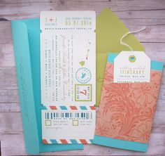 Boarding Pass Ticket Wrap Enclosure Invitation with Luggage