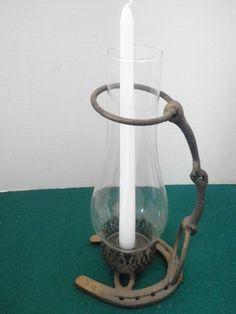 Rustic Horseshoe Hurricane Candle Lamp. $48.50, via Etsy.