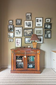 Antique Sideboard and Photo Collage  Home Office  Vignette  TraditionalNeoclassical  Transitional by One Bleecker Interiors