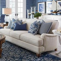 Furniture Layouts With The Lake House Couches and Sofas Living Room Furniture Bassett Furniture Coastal Living Rooms, New Living Room, Living Room Sofa, Living Room Furniture, Living Room Decor, Dining Room, Small Living, Modern Living, Navy And White Living Room