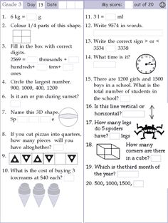 math worksheet specifically used for children at grade 3 level
