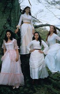 "The Buccaneers (1995) Starring: Alison Elliot as Virginia ""Jinny"" St. George, Carla Gugino as Annabel ""Nan"" St. George, Mira Sorvino as Conchita ""Connie"" Closson, and Rya Kihlstedt as Elizabeth ""Lizzy"" Elmsworth. BBC #CostumeDesign: Rosalind Ebbutt"