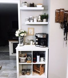 coffee corner Awesome Coffee Bar Ideas that Will Makes All Coffee Lovers Falling in Love TAGS: Coffee bar ideas, Coffee station kitchen, DIY Coffee bar in kitchen, Farmhouse coffee bar, Keurig station Coffee Station Kitchen, Coffee Bars In Kitchen, Coffee Bar Home, Home Coffee Stations, Coffe Bar, Kitchen Trolley, Knopparp Ikea, Coffee Bar Design, Coffee Nook