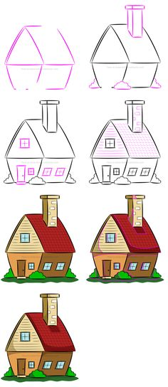 How to draw a simple cartoon house. #howtodraw #cartoonhouse #drawinglesson