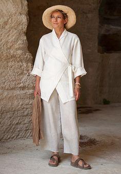 Veste en lin blanc pour femme