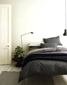 Easy And Cheap Diy Ideas: Minimalist Home Office Plants minimalist decor minimalism shelves.Minimalist Home Scandinavian Simple minimalist bedroom scandinavian small spaces. Farmhouse Bedroom Furniture, Modern Farmhouse Bedroom, Modern Bedroom, Master Bedroom, Grey Wall Bedroom, White Gray Bedroom, Black White Bedding, Farmhouse Style, Charcoal Bedroom