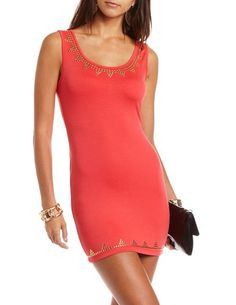$28.99 Studded Body-Con Tank Dress: Charlotte Russe