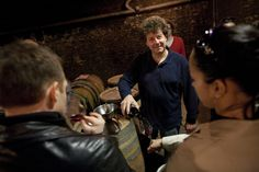 Philippe Pacalet pouring 2010 Ruchottes-Chambertin from barrel.   Beaune, Côte d'Or, Burgundy